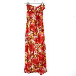NWOT Xhilaration Floral Chiffon Twisted Front Strapless Maxi Dress Small S